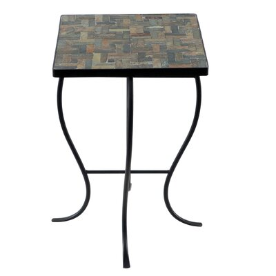 Square Stone Top Metal End Table Color: Red Stone