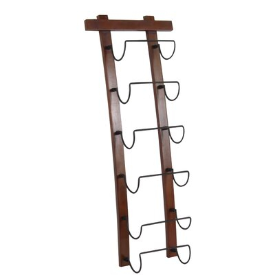 Curved Wood and Metal 6 Bottle Wall Mounted Wine Bottle Rack