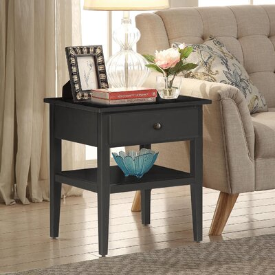 Celina End Table With Storage Color: Black