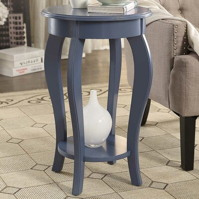 Round Wooden End Table Color: Gray