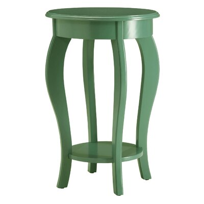 Round Wooden End Table Color: Green