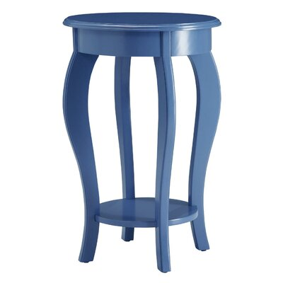 Round Wooden End Table Color: Blue