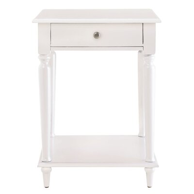 Wooden End Table Color: White