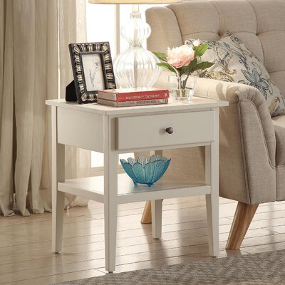 Celina End Table With Storage Color: White
