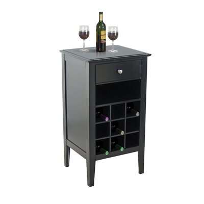 9 Bottle Floor Wine Cabinet Finish: Black