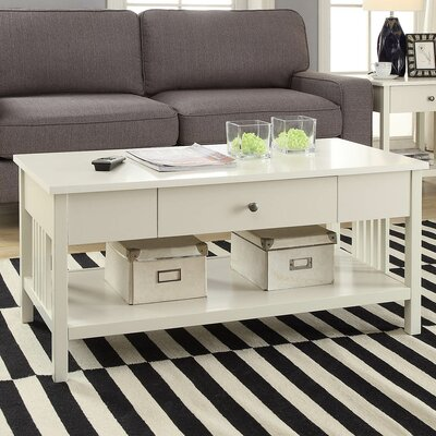 Bechtel Mission Style Wood Coffee Table Color: White