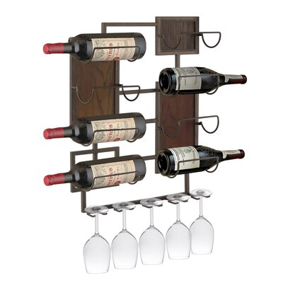 Crete Metal 8 Bottle Wall Mounted Wine Rack