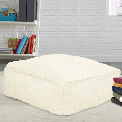 Allie Faux Fur Floor Pillow Color: White