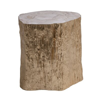 Trunk Segment Spot End Table Color: Gold