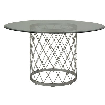 Royere Dining Table with Glass Top Base Color: Argento