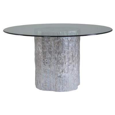 Trunk Segment Dining Table with Glass Top Base Color: Silver