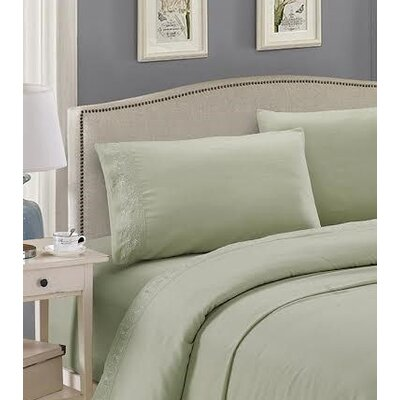 Embroidered Sheet Set Size: King, Color: Light Sage