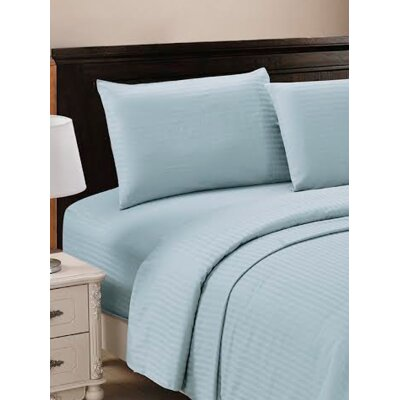 320 Thread Count 100% Egyptian Quality Cotton Sheet Set Size: Queen, Color: Light Blue