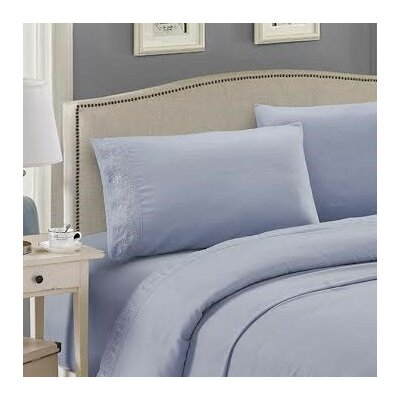 Embroidered Sheet Set Color: Light Blue, Size: King