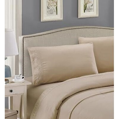 Embroidered Sheet Set Size: King, Color: Linen