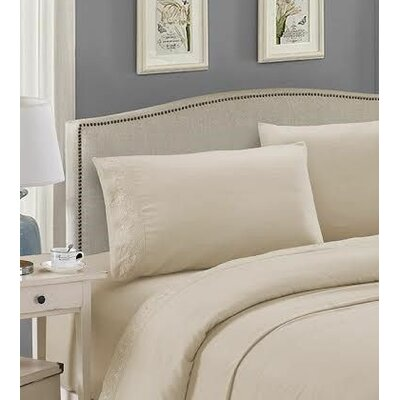 Embroidered Sheet Set Color: Ecru, Size: Queen