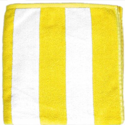 Cabana Striped Velour Beach Towel Color: Yellow