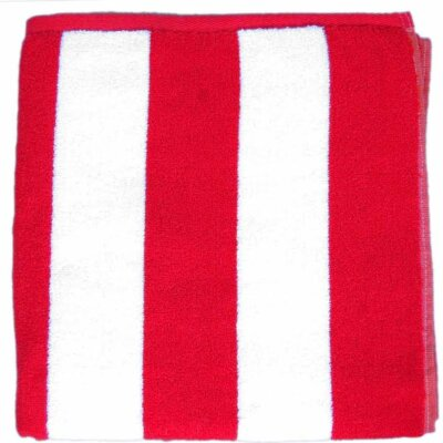 Cabana Striped Velour Beach Towel Color: Red
