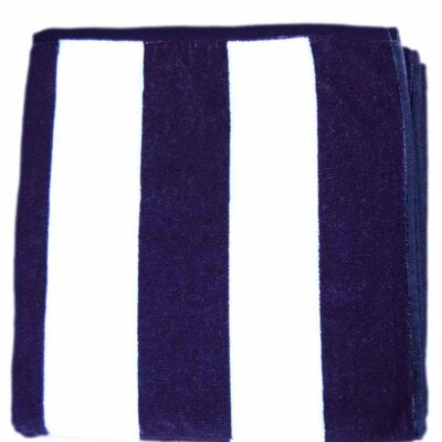 Cabana Striped Velour Beach Towel Color: Blue