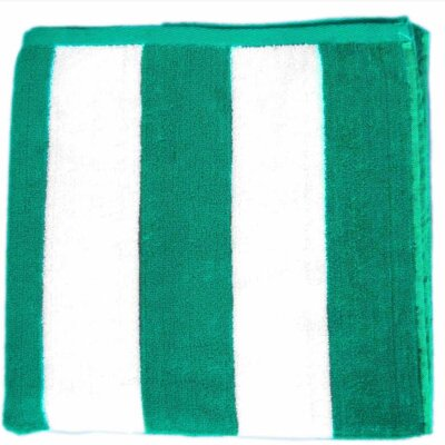 Cabana Striped Velour Beach Towel Color: Green