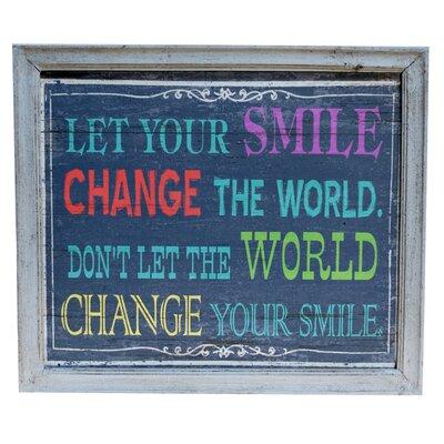 Smile Wood Sign Framed Textual Art