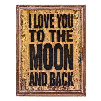 To The Moon Glass Sign Framed Textual Art