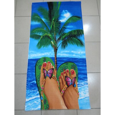 Enjoyful Summer Time Sandals on Beach Beach Towel