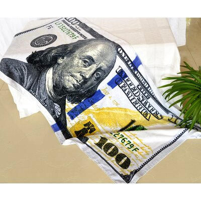 Enjoyful Summer Time $100 Dollar Bill Beach Towel