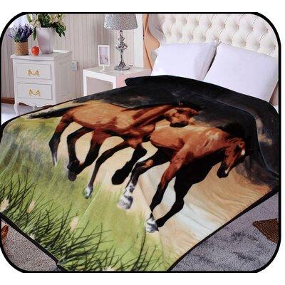 Hiyoko Running Horse Animal Mink Blanket
