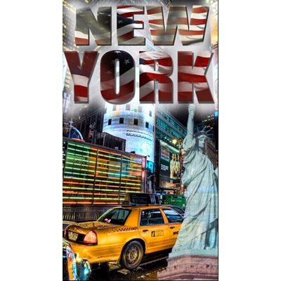 Enjoyful Summer Time New York Taxi Beach Towel