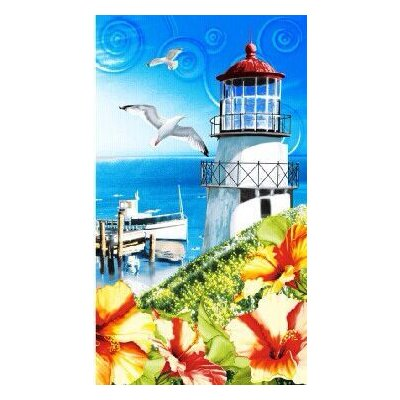 Enjoyful Summer Time Seagul and Lighthouse Beach Towel