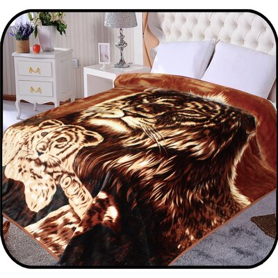 Hiyoko Safari Tiger and Cub Animal Mink Blanket