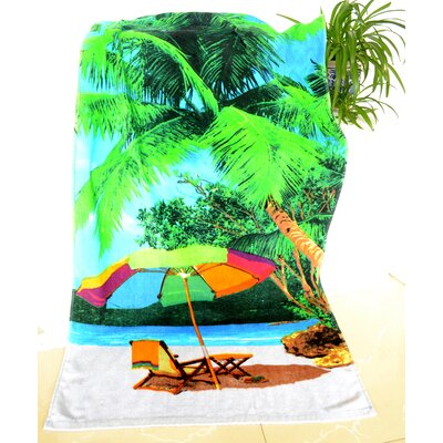 Enjoyful Summer Time Umbrella and Chairs Under Palm Tree Beach Towel