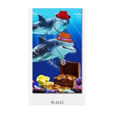 Enjoyful Summer Time Dolphins and Treasure Box Beach Towel