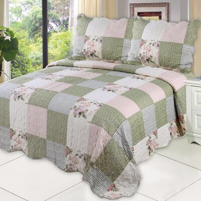 English Roses 3 Piece Full/Queen Quilt Set