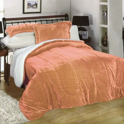 3 Piece Full/Queen Reversible Comforter Set Color: Salmon