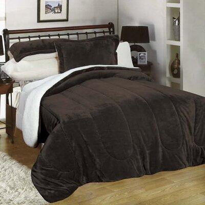 3 Piece Full/Queen Reversible Comforter Set Color: Chocolate