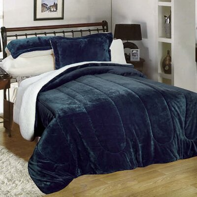 3 Piece Full/Queen Reversible Comforter Set Color: Navy