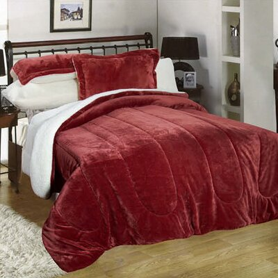 3 Piece Full/Queen Reversible Comforter Set Color: Burgundy