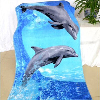 Enjoyful Summer Time Jumping Dolphin Beach Towel