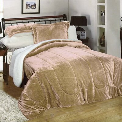 3 Piece Full/Queen Reversible Comforter Set Color: Taupe