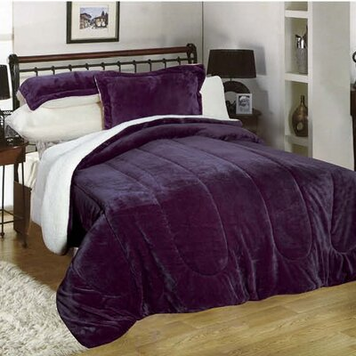 3 Piece Full/Queen Reversible Comforter Set Color: Purple