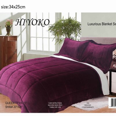 Hiyoko 3 Piece Queen Comforter Set Color: Purple