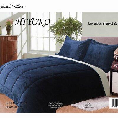 Hiyoko 3 Piece Queen Comforter Set Color: Navy