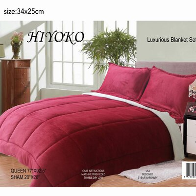 Hiyoko 3 Piece Queen Comforter Set Color: Burgundy