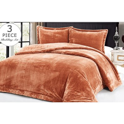 3 Piece Full/Queen Comforter Set Color: Salmon