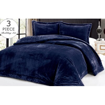 3 Piece Full/Queen Comforter Set Color: Navy