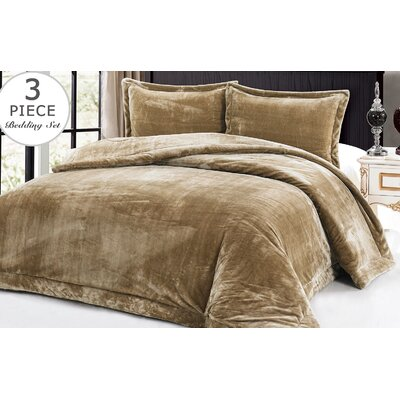 3 Piece Full/Queen Comforter Set Color: Taupe