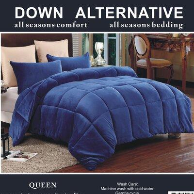 3 Piece Queen Comforter Set Color: Navy
