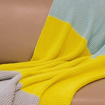 Zac Throw Blanket Color: Yellow/Beige/Blue